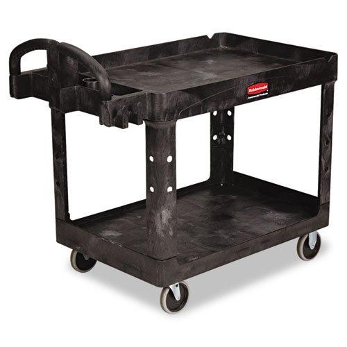 Rubbermaid Commercial Heavy-Duty Utility Cart, 2-Shelf, 25-7/8w x 45-1/4d x 33-1/4h, Black - one cart.