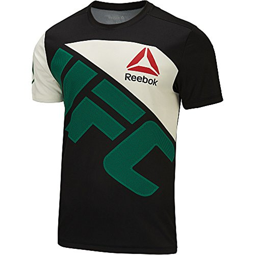 Reebok Mens UFC CAIN VELASQUEZ Combat Jersey Black / Chalk White / Green (Medium) (Best Of Cain Velasquez)