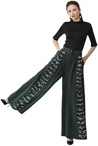 a85ab16a77154 VOA Silk Pants Long Trousers Women Casual Army Green Print High Waist Pants  K556