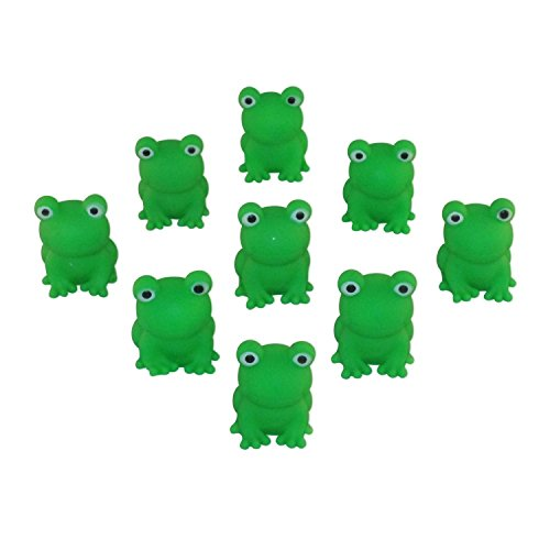 (Passover Frogs - 9 Plastic Squeaking Frogs, Soft Plastic Bright Green Plague Frogs by Cazenove)