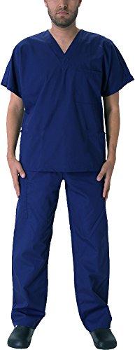 Natural Workwear Uniform Mens Medical Nurse Scrub Set, True Navy 39924-Small