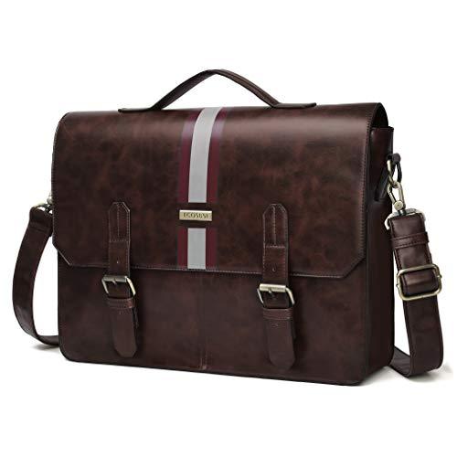 ECOSUSI Men's Briefcase PU Leather Shoulder Satchel Computer Bag with Back Pocket fits 15.6 inch Laptop, ()