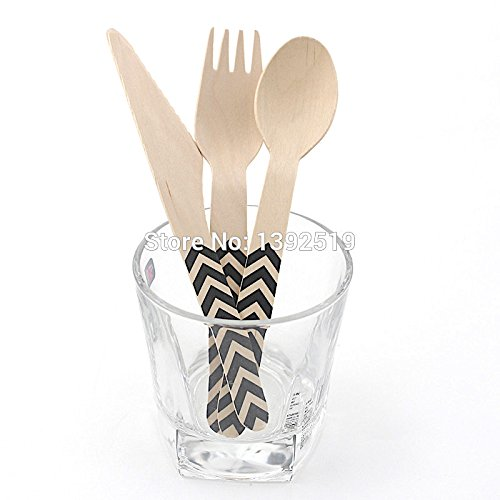 Boxstyleshop Wooden forks disposable dots/ 144 Piece