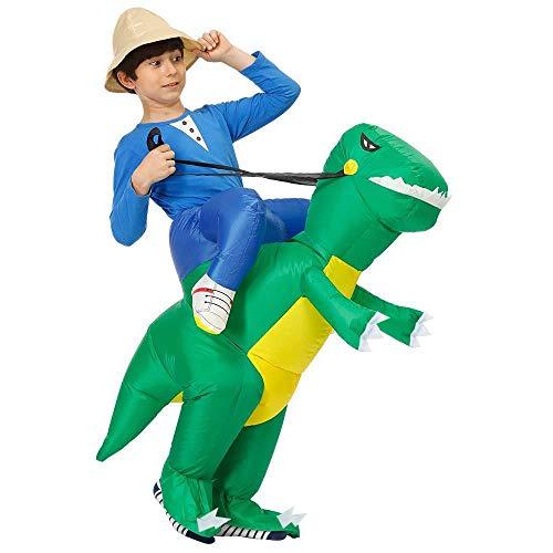 Inflatable Dinosaur Halloween Costume (Inflatable Dinosaur T-Rex Costume Fancy Dress Halloween Blow up Costumes Adult/Kids (Green Dinosaur)