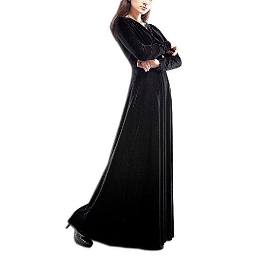 V Noche Vestidos Cóctel Elegante Vestidos Largo Mujer Cuello de Vestido Vestidos KAXIDY Negro de Terciopelo wxF1Uq8I
