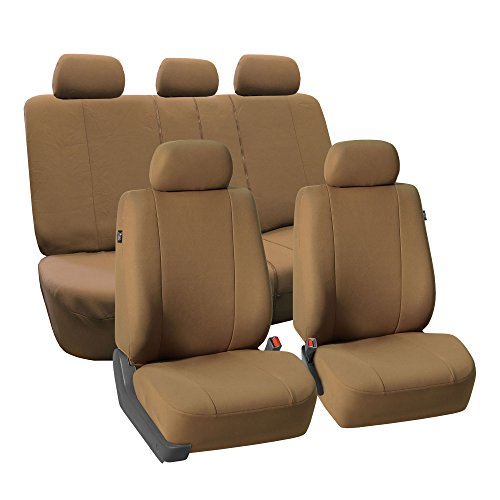 FH GROUP FH-FB052115 Full Set Multifunctional Flat Cloth Car Seat Covers, Airbag Ready and Split, Taupe Color - Fit Most Car, Truck, Suv, or Van (A8 Audi Set)