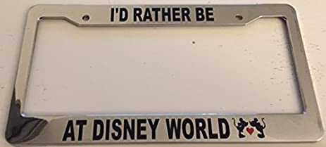 id rather be at disney world limited edition red heart chrome automotive license - Disney License Plate Frame