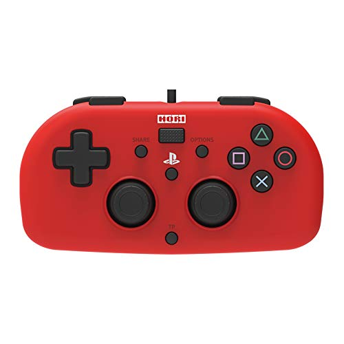 PS4 Mini Wired Gamepad (Red) by HORI - Officially Licensed by Sony