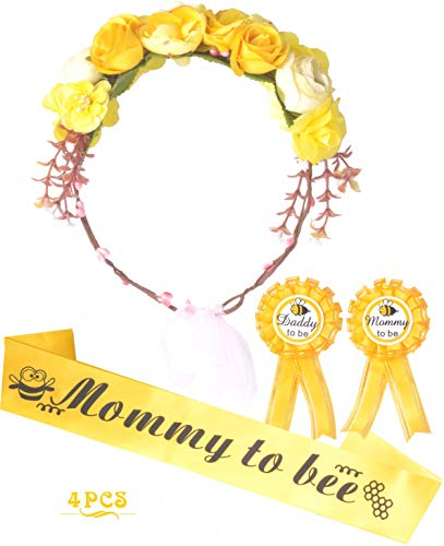 Mommy to Bee Baby Shower Decoration, Mother To Be Flower Crown Set, Mommy to be Sash and Mommy to be Pin, Dad To Be Pin, Bee and Honey Baby Shower Party Favors Decorations Gift for Pregnant Party Deco (Baby Shower Party Favors Yellow)