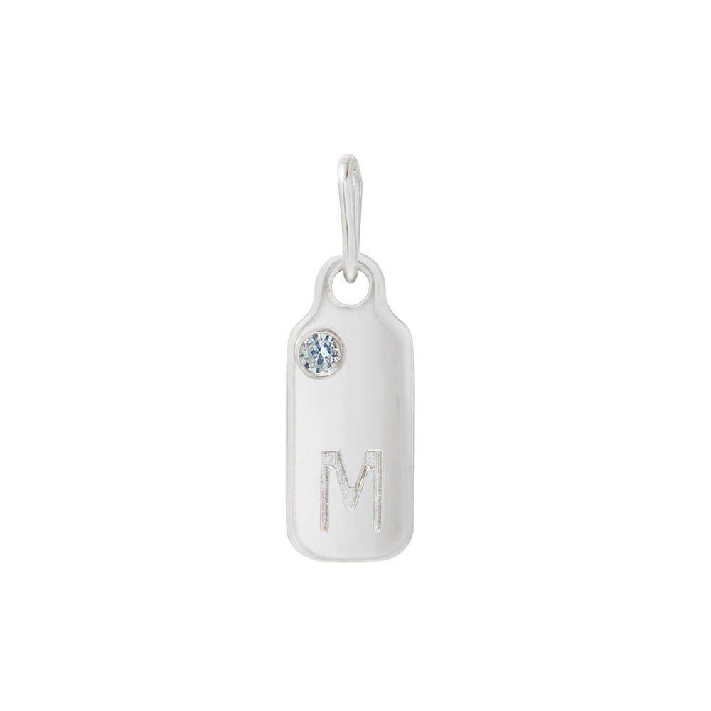 Mini Mini Jewels 14k White Gold Aquamarine March Birthstone Accented Letter M Dog-tag Pendant