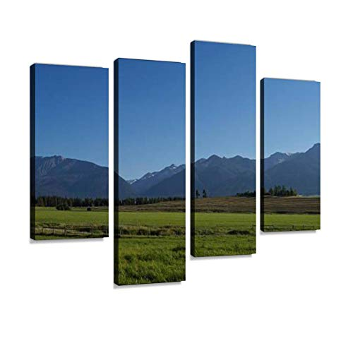 Wallowa Mountain Range Canvas Wall Art Hanging Paintings Modern Artwork Abstract Picture Prints Home Decoration Gift Unique Designed Framed 4 Panel