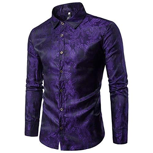 Cloudstyle Mens Paisley Shirt Long Sleeve Dress Shirt Button Down Casual Regular Fit Purple