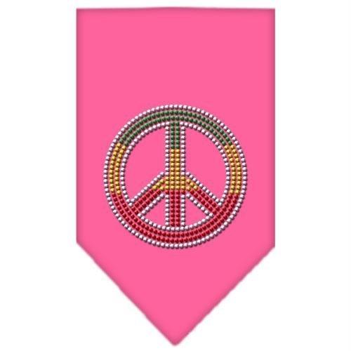 Mirage Pet Products Rasta Peace Rhinestone Bandana, Small, Bright Pink