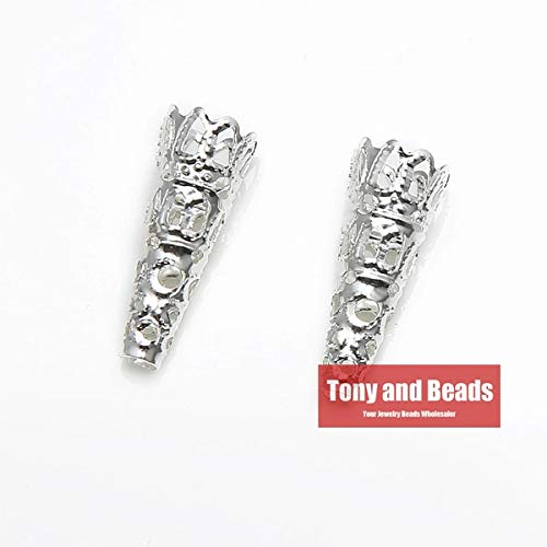 Pukido (50Pcs=1Lot !) Jewelry Finding 9x22MM Bugle Filigree Bead End Cap Cone Gold Silver Bronze Nickel Plated No.BC8 - (Color: Silver PLT)
