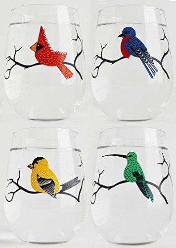 Four Birds Glassware, Set of 4 Stemless Wine Glasses, Bird Glasses