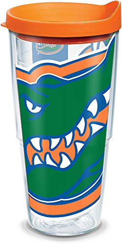 Tervis 1084687 Florida Gators Colossal Tumbler with Wrap and Orange Lid 24oz, Clear ()