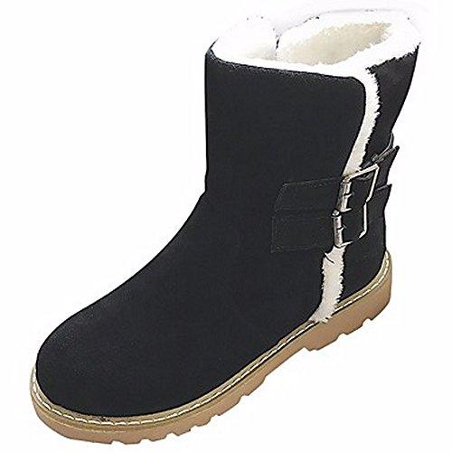 ZHUDJ Damen Schuhe Winter Stiefel Aus Gummi Runder Für Outdoor Braun Schwarz Black