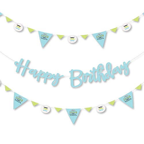 Big Dot of Happiness Dashing Little Man Mustache Party - Birthday Party Letter Banner Decoration - 36 Banner Cutouts and Happy Birthday Banner Letters