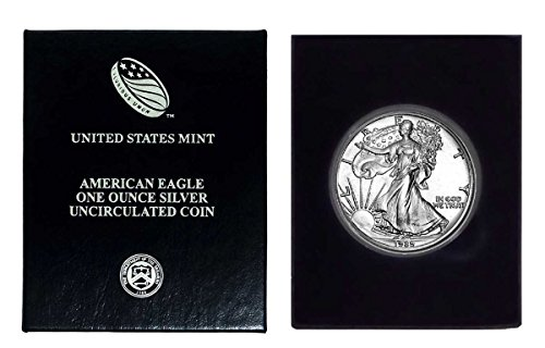 - 1989 - American Silver Eagle in Plastic Air Tite and Blue Gift Box with our Certificate of Authenticity Dollar Uncirculated Us Mint