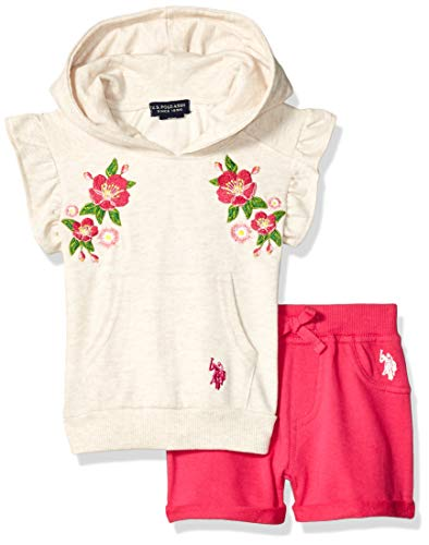 U.S. Polo Assn. Baby Girls Hooded Knit Top and Pull-On Short, Multi, 12M