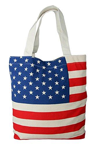 JPNK Reusable Eco-friendly American Flag Design Easy Fold Shopping Tote Bag (Bag American Flag)
