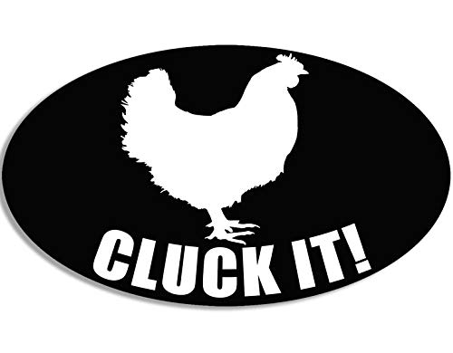 (American Vinyl Oval Cluck IT Sticker (Chicken Farm cage Egg Funny Chick Hen))