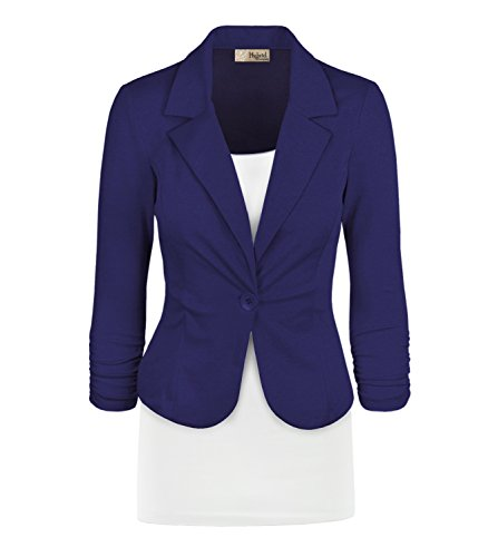 Women Double Notch Lapel Office Blazer JK1131X 1073T Royal 3X ()
