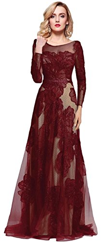 Meier Women's Long Sleeve Illusion Back Embroidery Lace Evening Dress Burgundy Size 6