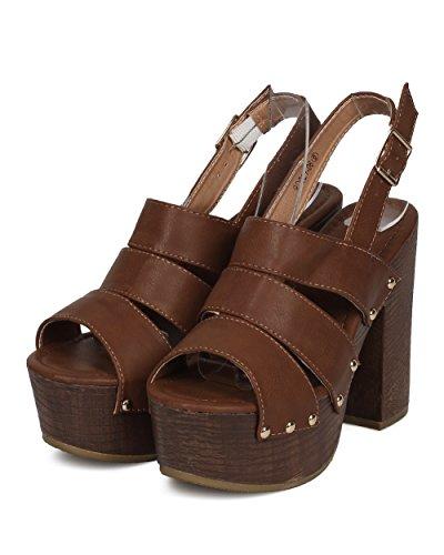 Alrisco Kvinnor Plattform Blockera Häl Sandal - Faux Trä Chunky Häl - Dubbade Slingback Häl Sandal - Hd40 Genom Refresh Colletion Tan Läder
