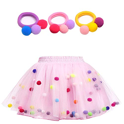 Bingoshine 4 Layers Soft Tulle Puff Ball Girls Tutu Skirts with Silky Lining Colorful Princess Costumes for Dressing Up. (Pink, L,4-6 Years) ()