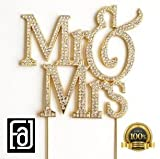 Large Mr&Mrs, Wedding, Anniversary, Bridal Shower Cake Toppers, Crystal Rhinestones on Gold Metal, Party Decorations