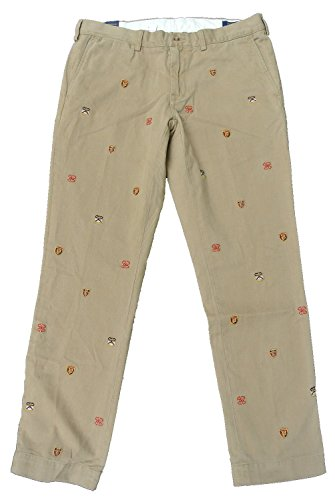 Embroidered Khaki Pants (Polo Ralph Lauren Mens Slim Fit Crest Embroidered Khaki Chino Pants 33W x 30L)