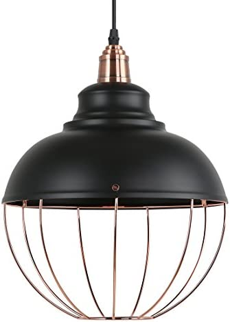 Light Society Margritte Pendant Light, Matte Black Shade with Copper Cage, Modern Industrial Lighting Fixture LS-C146