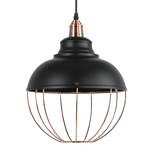 Light Society Margritte Pendant Light, Matte Black Shade with Copper Cage, Modern Industrial Lighting Fixture (LS-C146)