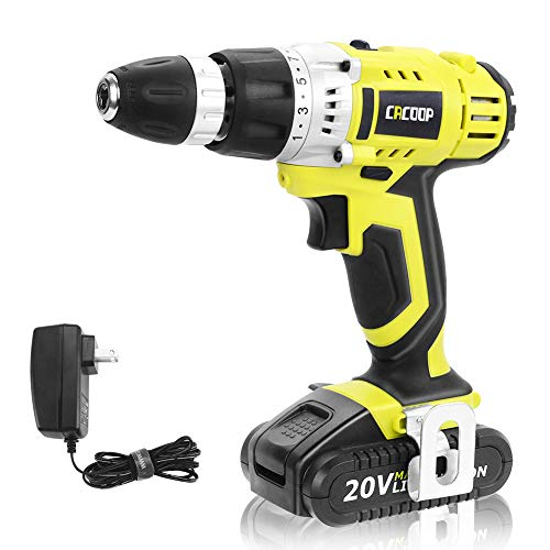 CACOOP Green Cordless 20V Lithium-ion Drill Driver Set (1.5Ah),1 Battery