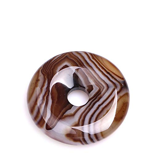 (35mm Natural Semi Precious Donuts Rings Coffe Brown Onyx Sardonyx Agate Gemstone Beads for Jewelry Making Strand 15