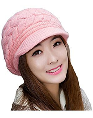 4877d4ec928 Krystle Women's|Girl's Winter Warm Knit Hat Wool Snow Ski Caps with Visor  (Pink