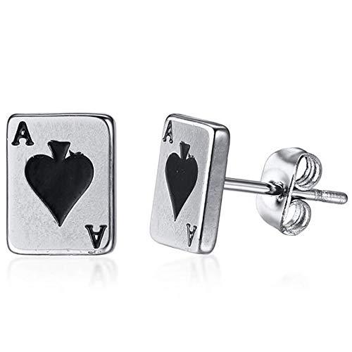 Stainless Steel Ace Spade Gambling Casino Biker Cockail Party Stud Earrings ()