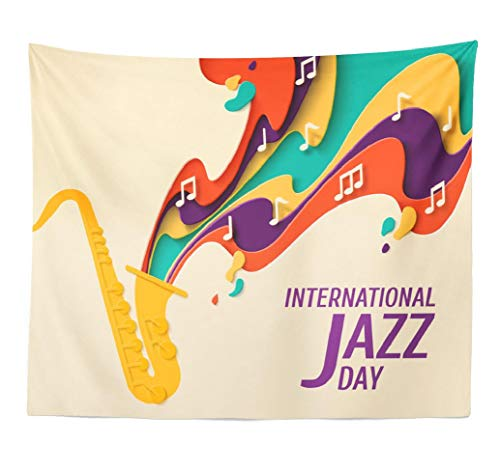 (Lshtar Decorative Tapestry Jazz Day Music Style Poster Jazz Festival Night Retro Party with Saxophone and Vintage Wall Hanging Tapestry Polyester 80''L x 60''W for Bedroom Living)