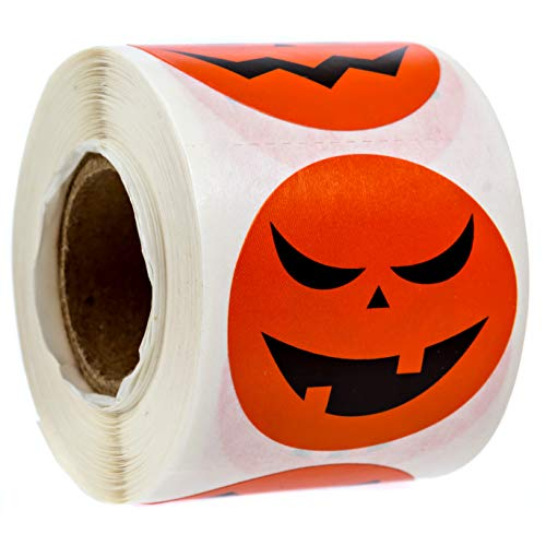 Halloween Jack-O-Lantern Stickers / 8 Alternating Pumpkin Designs / 250 Halloween Stickers]()