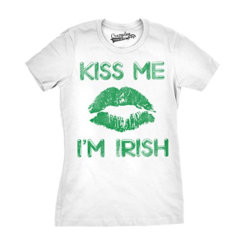 te Kiss Me I'm Irish Funny St. Patrick's Day T Shirt (White) S (Im Irish T-shirt)