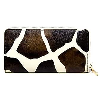 Me Plus Women Fashion PU Faux Leather Animal Print Long Wallet with Zipper Closure Card Slots Zipped Coin Pouch (Giraffee Print - Brown)