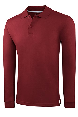 Men's Slim Fit Long Sleeve Jersey Polo Shirt - Burgundy,Small