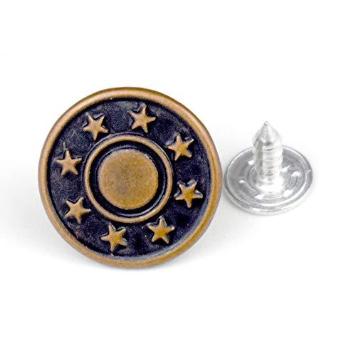 (20 Pcs Replacement Jeans Buttons, LaZimnInc Metal Button Snap Buttons Replacement Kit with Star Patterns (0.67inch))