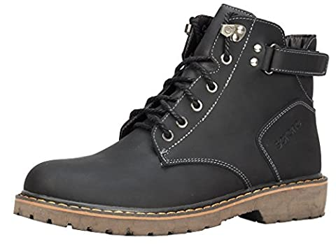 Serene Christmas Mens Winter Style Black Leather Warm Fur Lining Velcro Combat Boots(8 D(M)US, 3109Black)