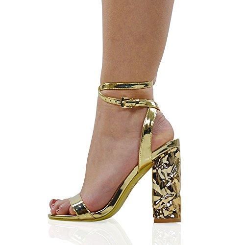 Cinturino Alla Caviglia Sintetico Da Donna In Essex Glam, Senza Tacco, Sandali Color Oro Metallizzato