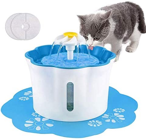 Shinea Pet Fountain, 88oz 2.6L Automatic Cat Water Fountain Dog Water Dispenser with 2 Replacement Filters 1 Silicone Mat for Cats, Dogs, Multiple Pets