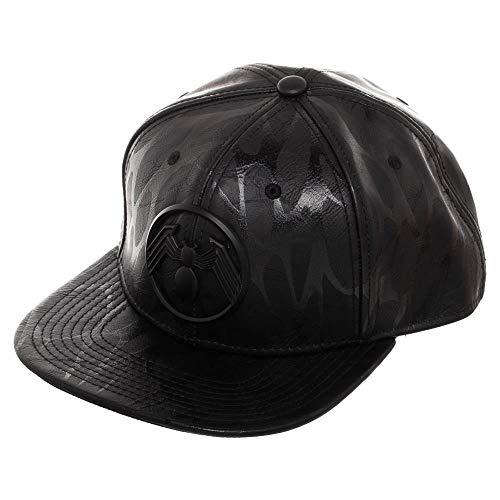 Black Spiderman Hat (Venom Metal Front Art Black Snapback)