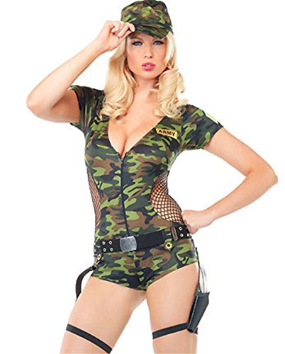 [BeautyXTP Women Army Doll Military Camouflage Halloween Costume Romper Cosplay (Camouflage)] (Army Halloween Costumes Women)