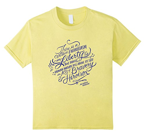 Kids Alexander Hamilton Quote T-Shirt - Enthusiasm in Liberty 12 Lemon